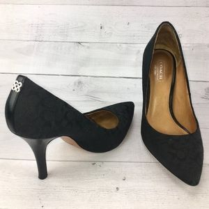 Coach Ellin Signature Pointed Pump Black Monogram